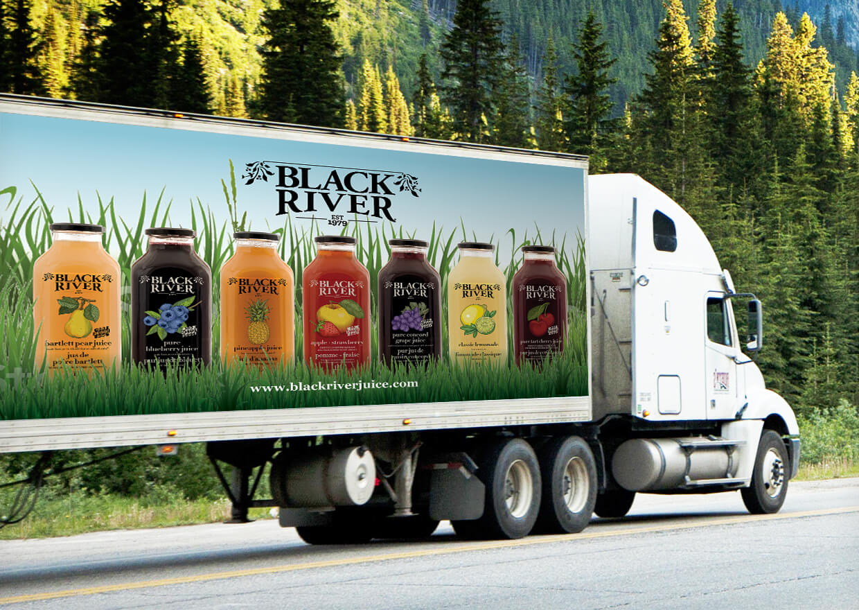 A giant ad for the side of a transport truck designed by Copperhead Creative