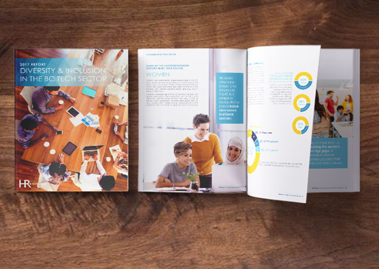 A diversity report for the tech industry in BC, layout and design provided by Copperhead Creative