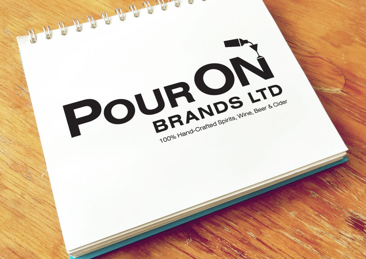 Pour On logo and branding designed by Copperhead Creative, made to be as simple and natural as the ingredients in the soap