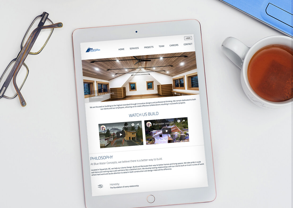 A Copperhead Creative custom website built for Blue Water Concepts a Squamish based construction company