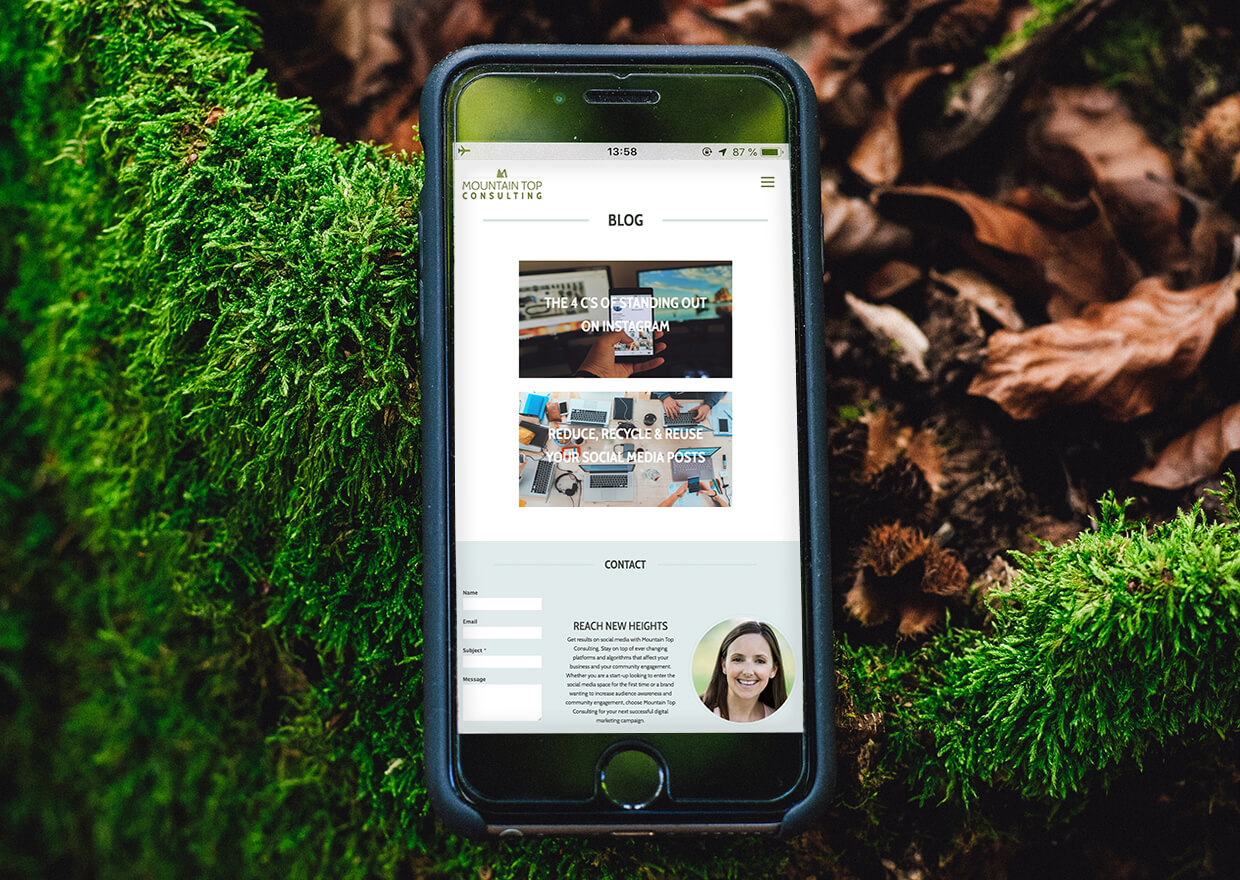 A Copperhead Creative Custom website built for Mountain Top Consulting a social media expert