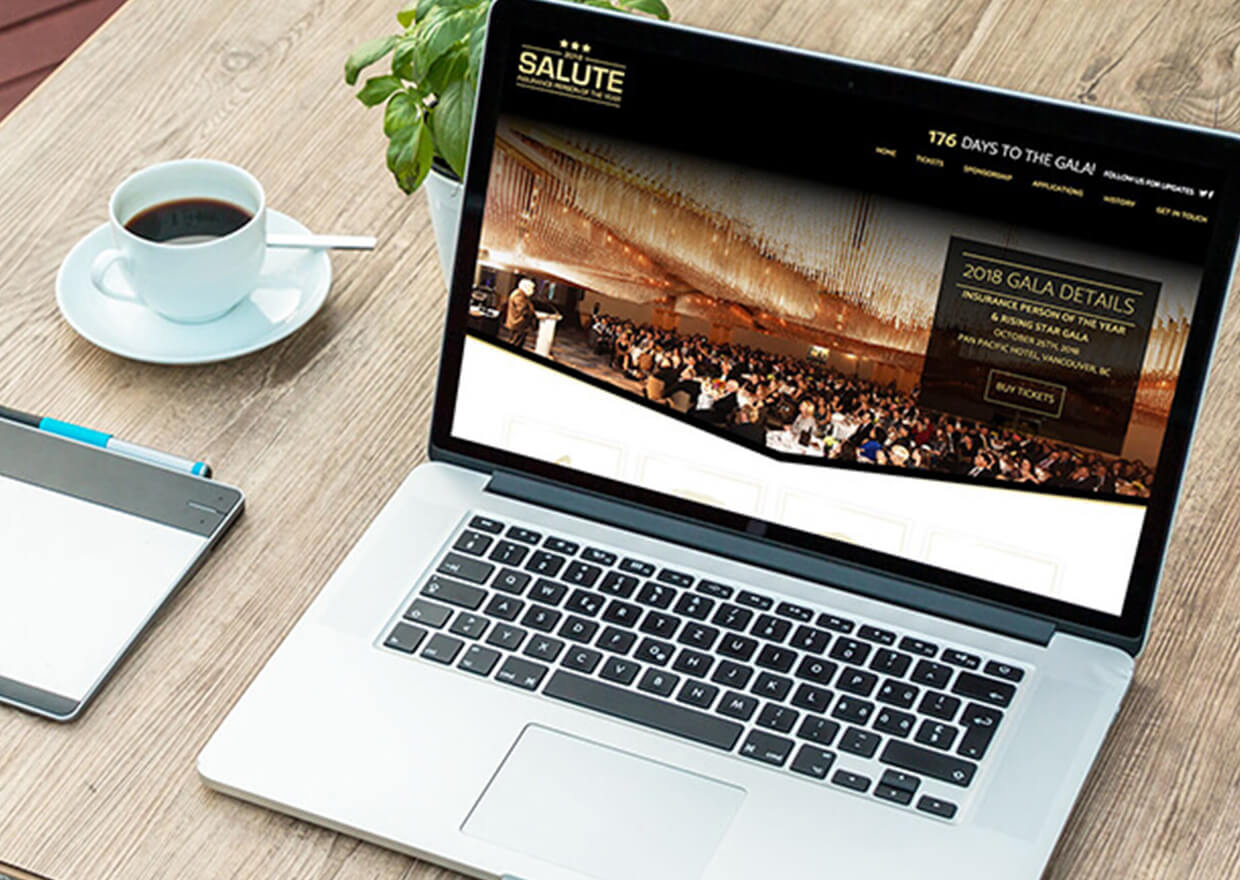A Copperhead Creative custom website built for Salute BC a not for profit Insurance Gala